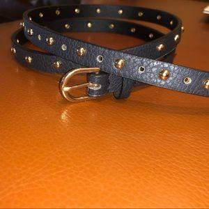 Target Black Leather Gold Studded Thin Belt